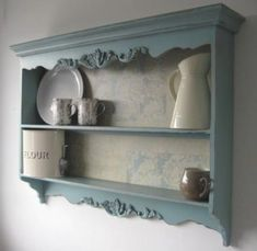 Carved PLATE RACK WALL SHELF French Blue DISPLAY CABINET Vintage Shabby Chic NEW | eBay