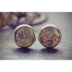 Steampunk Stud Earrings Steampunk Jewelry Watch Part Studs Tiny Watch... ($23) ❤ liked on Polyvore featuring home, home decor, jewelry storage, silver jewellery box, silver home accessories, silver dome, eco friendly home decor and jewellery box