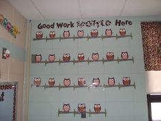"""""""Good Work Spotted Here"""" Owl Bulletin Board is a cute & fun way to display the kids work!"""