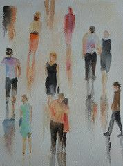 People walking, by Fernanda P. (Dona Mincia) Tags: reflection art watercolor painting paper shine arte collection study together reflexo pintura brilho aquarela coleo peoplewalking pessoasandando
