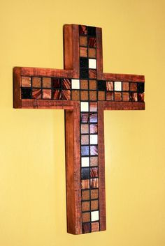 Mosaic Wood Cross Rustic Copper Metallic by natureinspiredcrafts Mosaic Crosses, Wooden Crosses, Wall Crosses, Home Decor Catalogs, Home Decor Store, Irridescent Tile, Barn Wood Crafts, Cross Crafts, Glass Mosaic Tiles