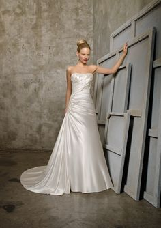 Mori Lee 2518 Soft Satin with Embroidered Appliques