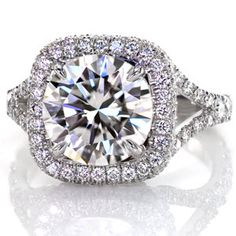 Custom micro pave engagement ring from Knox Jewelers. Design 2653 features a european shank band with a split shank top. The halo, basket, and band are all detailed with hand cut micro pave.