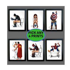 Set Superhero Bathroom PRINTS Posters Superman Spider-man Wonder Woman Captain America Batman To Superman And Spiderman, Hulk Marvel, Captain Marvel, Captain America, Batman, Superman Birthday, Bathroom Prints, Bathroom Kids, Bathrooms
