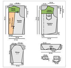Molde de campera de jean para dama de utilísima El procedimiento en: http://www.utilisima.com/manualidades/3516-campera-en-jean-bordado-t-42.html.