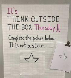 It's Think Outside the Box Thursday. 🙌 Complete the picture. One thing is for sure. It's not a Star. ⭐ From a peacock to Cinderella's… Teaching Art, Teaching Tools, Teaching Resources, Art Classroom, Future Classroom, Bell Work, Responsive Classroom, Morning Messages, Thinking Outside The Box