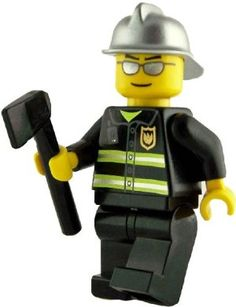 Lego City Firefighter with Silver Helmet & Black Axe by LEGO. $5.99