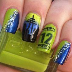 Seahawk nail art