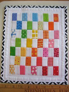 Mini Rainbow | Flickr - Photo Sharing! Easy Quilts, Small Quilts, Mini Quilts, Quilting Templates, Quilting Designs, Quilt Patterns, Quilting Ideas, Rainbow Quilt, Rainbow Blocks
