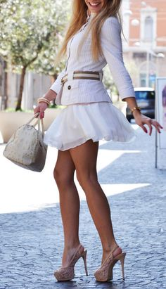 There Is nothing about this look I don't like sexy skirt jacket & heels !! Love the legs too