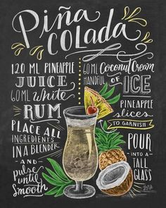 Lily and Val Piña-Colada Recipe Poster at Posterlounge ✔ Free delivery ✔ Free … – Photos + - My CMS Milk Shakes, Cocktail Drinks, Alcoholic Drinks, Beverages, Party Drinks, Lily And Val, Deco Restaurant, Pineapple Rum, Cocktail Recipes