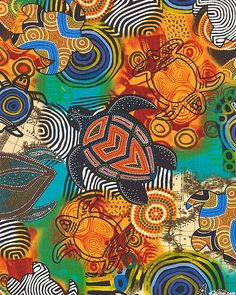 """Painted sea turtles dazzle the eye with Australian Aboriginal designs. They swim by mesmerizing circles and over bits of maps on their journey to the great ocean. Larger turtles are about 5 1/2"""", from the 'Sea Turtles' collection by Fabri-Quilt."""