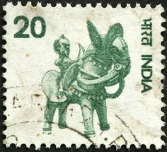 A stamp printed in India shows image of an Indian elephant (???) series, circa 1937