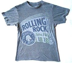 Somewhat Distressed Cool Rolling Rock Beer T Shirt, Bottom Hem Cut, Worn Look. $9.99 obo