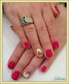 Tropical red nails