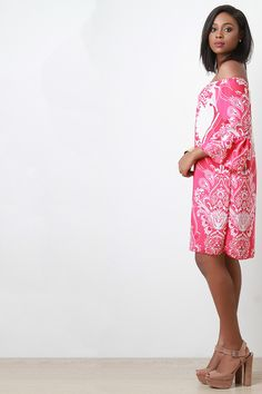 Off The Shoulder Floral And Paisley Print Shift Dress