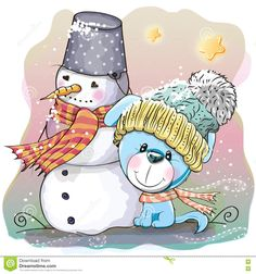 Cute Puppy and snowman stock vector. Image of animals - 79367029