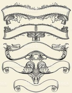 Engraved Symmetrical Banners royalty-free engraved symmetrical banners stock vector art & more images of antique