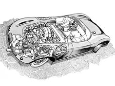 1958-59 Porsche 718 RSK - Illustrated by William Moore
