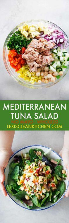 Mediterranean Tuna Salad with No Mayo - Lexi's Clean Kitchen #tuna #salad #nomayo #healthy #lunch #whole30 #paleo