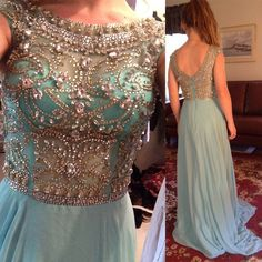 Scoop Neckline Rhinestone Beaded V-back Long A-line Blue Chiffon Prom Dresses, PD0266