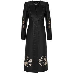 Alexander McQueen Moon satin-crepe and jacquard coat, Black, Women's,... (83 585 UAH) ❤ liked on Polyvore featuring outerwear, coats, dresses, jacquard coat, satin coat, alexander mcqueen coat, satin kimono and kimono coat