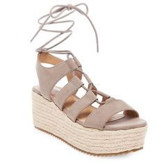 Women's Pebbles Wrap Flatform Espadrille Sandals - Taupe 7.5, Light Taupe