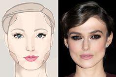 Makeup face chart for a square face like Keira Knightley's. Square Face Makeup, Round Face Makeup, Pastel Outfit, Makeup Tips, Beauty Makeup, Eye Makeup, Contour Makeup, Contouring And Highlighting, Clown Face Paint