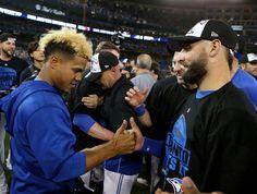 Division Series - Texas Rangers v Toronto Blue Jays - Game Five Kevin Pillar, Blue Jays Game, Marcus Stroman, Mlb Postseason, Crazy Games, Tampa Bay Rays, Toronto Blue Jays, Derek Jeter, Team Photos