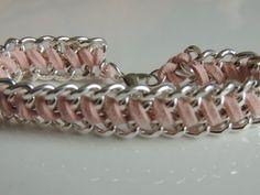 DIY Pulsera con cadenas y cordón de antelina. How to make bracelet chain.