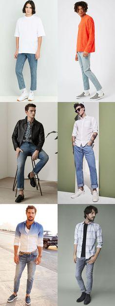 109c68cf1ef7 Men s Light Wash 1990s Jeans Outfit Inspiration Lookbook Vintage Denim