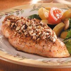 """Honey-Pecan Chicken Breasts Recipe -""""We love to entertain,"""" writes Penny Davis from Newman Lake, Washington. """"This is one of my favorite 'special' recipes to welcome dinner guests. The nuts add an elegant touch, and it fills the house with a great aroma. Pecan Recipes, Cooking Recipes, Healthy Recipes, Delicious Recipes, Pecan Crusted Chicken, Winner Winner Chicken Dinner, Breast Recipe, I Love Food, Chicken Recipes"""