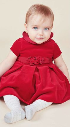 c7391a7204ba2 MONNALISA CHIC Baby Girls Red Velvet Dress. Perfect for Christmas! #baby
