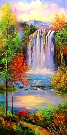Mountain Waterfall Painting - Wonderful fantasy nature paintings of sakura mountain and river. Use waterfall art and prints in your personal spaces to evoke that magical feeling of. Canvas Painting Landscape, Oil Painting Abstract, Acrylic Painting Canvas, Landscape Art, Landscape Photography, Photography Tips, Painting Wallpaper, Painting Art, Oil Pastel Landscape
