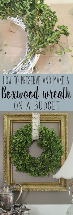 Step by step tutorial on how to preserve and make a real boxwood wreath on a budge