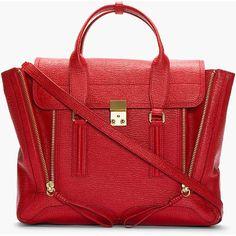 3.1 PHILLIP LIM Red Leather Pashli Satchel ($895) via Polyvore