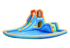 Features:  -Powered by strong UL blower (included).  -Two slides with different levels will entertain both older and younger kids at the same time.  -Sliding through a tunnel under the slide is an adv