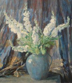 A. Arens, doek, bloemstilleven doek, 95 x 83, witte violieren in blauwe vaas, gesigneerd Albert Arens (1881-c.1953)