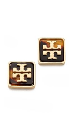 Tory Burch - Resin Square Logo Studs