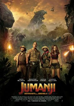 Jack Black, Kevin Hart, Dwayne Johnson, and Karen Gillan in Jumanji: Welcome to the Jungle 2018 Movies, Hd Movies, Movies Online, Movie Tv, Movies Free, Movie Blog, Indie Movies, Watch Movies, Action Movies