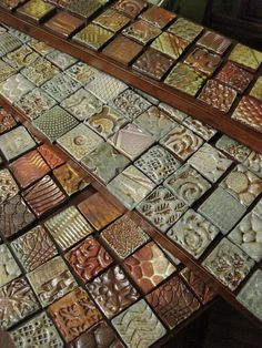 Gary Jackson-clay quilt themes - I've been thinking of making some clay objects for my garden - have to think of some way to incorporate some tiles like this! Clay Tiles, Ceramic Clay, Ceramic Pottery, Pottery Art, Tile Art, Mosaic Art, Mosaic Tiles, Clay Projects, Clay Crafts