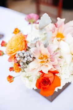 Sun-toned florals: http://www.stylemepretty.com/california-weddings/san-diego/2015/01/28/whimsical-art-museum-wedding-in-san-diego/ | Photography: Petula Pea - http://www.petulapea.com/