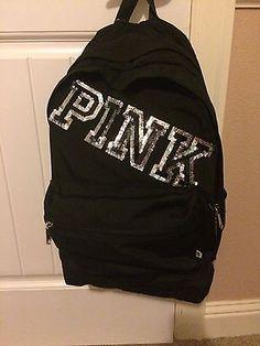 Victorias Secret Pink RARE Black Bling Logo Sequins Campus Backpack Bag Gift