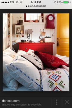 I love the bright colors in a bedroom, it's a nice little extra surprise, it's exciting, inviting, cozy, warm and bright. Everything a bedroom should be :)