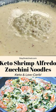 Keto Low-Carb Creamy Garlic Shrimp Alfredo Zucchini Noodles (Zoodles) is a quick and easy recipe that is perfect for the keto diet and ketosis lifestyles. The shrimp is served grilled or pan seared with parmesan cheese and rich alfredo cream sauce. Keto Shrimp Recipes, Zoodle Recipes, Low Carb Chicken Recipes, Low Carb Recipes, Diet Recipes, Healthy Recipes, Keto Chicken, Healthy Breakfast Recipes, Tasty Videos