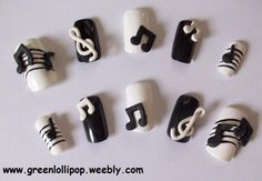 3d nails | Japanese 3D Nail Art Set Music Notes by GreenLollipopDesigns