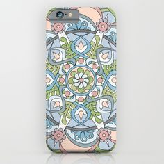 Introspective Mandala iPhone Case in Light Blue, Pink, White, and Light Green