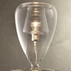 Privata Aperto Table Lamp   Produzione $920.00 - has inner transparent and striated diffuser, and outer transparent blown borosilicate glass structure. #produzione #tablelamp