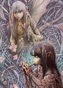 Kira and Jen are Gelflings, elf like creatures from the Jim Henson film, 'The Dark Crystal'. Art of Brian Froud.