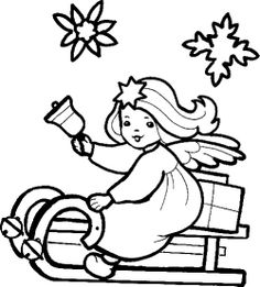 Christmas Angel And Sky Magic Coloring Page